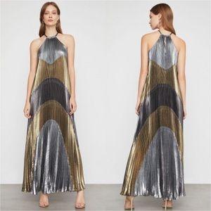 BcbgMaxAzria Metallic Colorblock Pleated Gown XXS